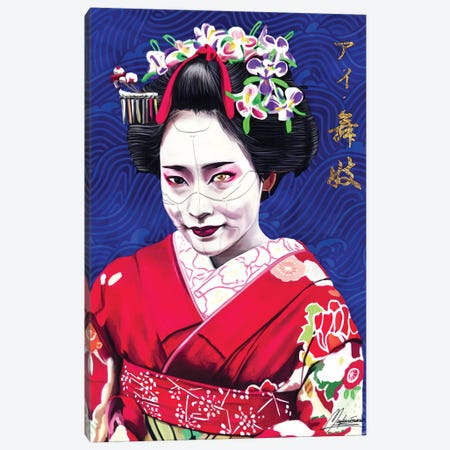AI Geisha - Blue AI Canvas Print #IEN64} by Mayka Ienova Canvas Art Print