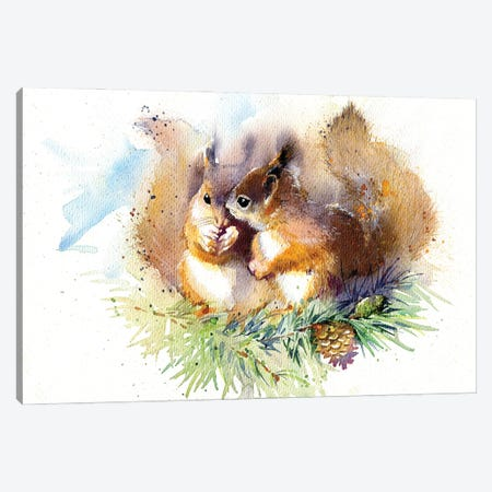 Squirrels Canvas Print #IGN100} by Marina Ignatova Canvas Print