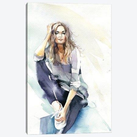 Sitting Girl Canvas Print #IGN129} by Marina Ignatova Canvas Print