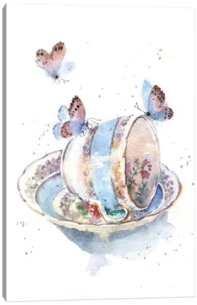 Cup With Butterflies Canvas Art Print