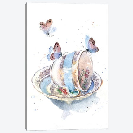 Cup With Butterflies Canvas Print #IGN12} by Marina Ignatova Canvas Art