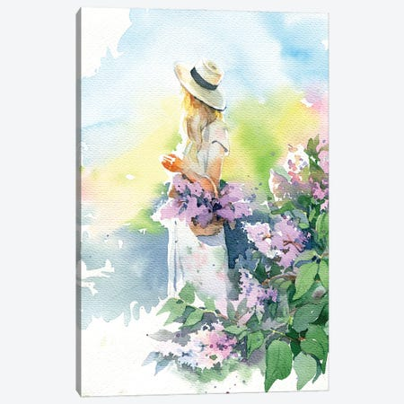 Girl With Lilacs Canvas Print #IGN135} by Marina Ignatova Canvas Print