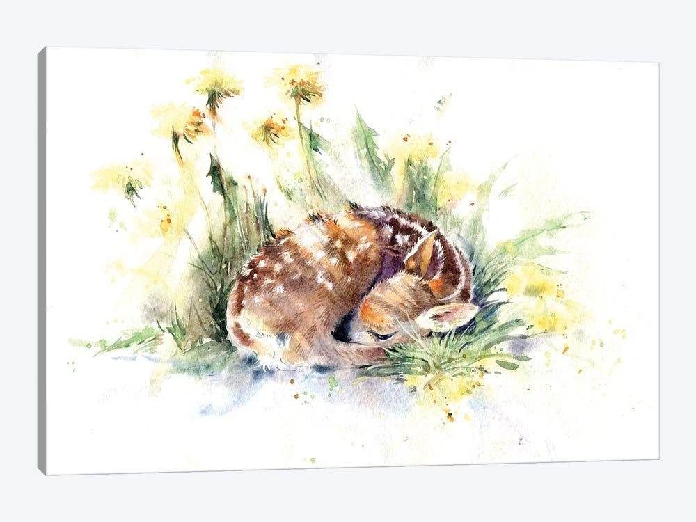 Fawn In Dandelions by Marina Ignatova 1-piece Canvas Print