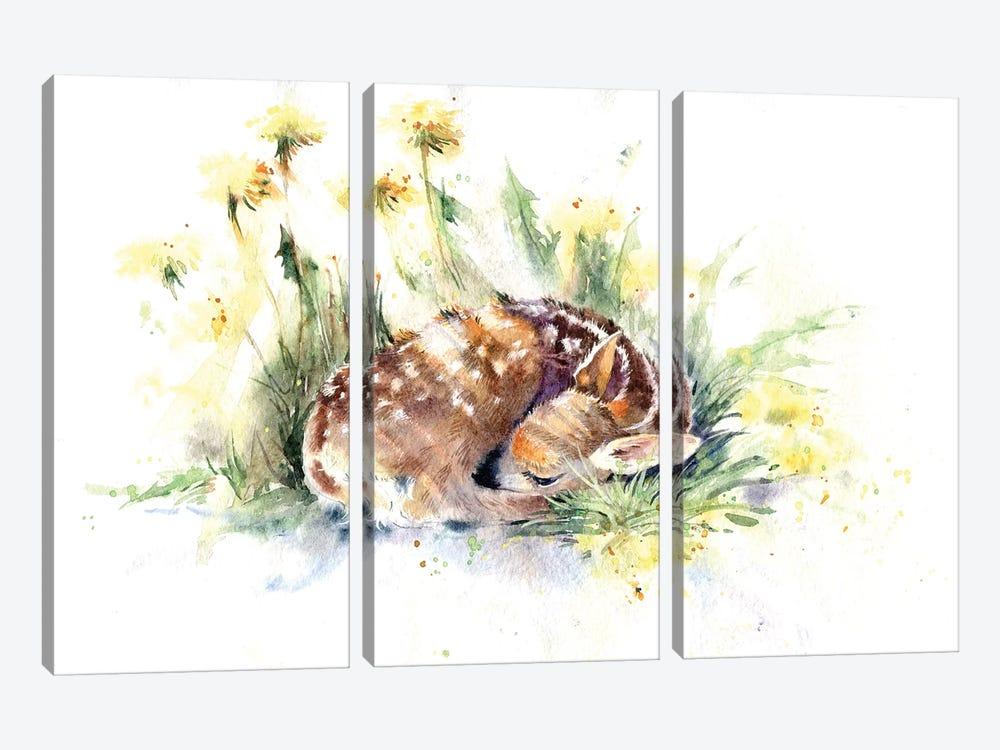 Fawn In Dandelions by Marina Ignatova 3-piece Art Print