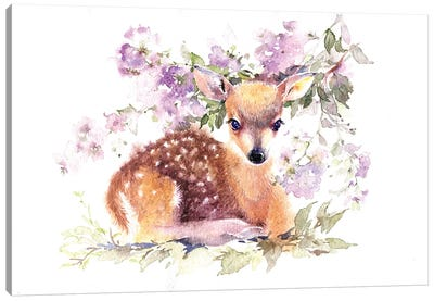 Fawn In Flowers Canvas Art Print