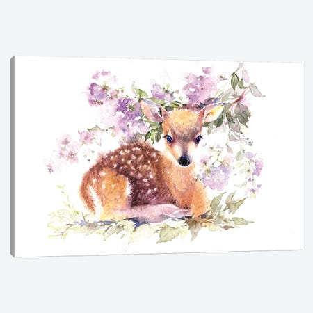 Fawn In Flowers Canvas Print #IGN15} by Marina Ignatova Canvas Art Print