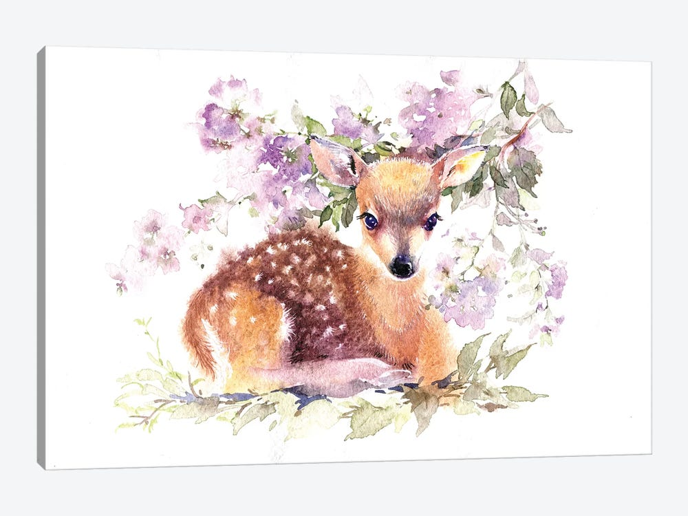 Fawn In Flowers by Marina Ignatova 1-piece Canvas Wall Art