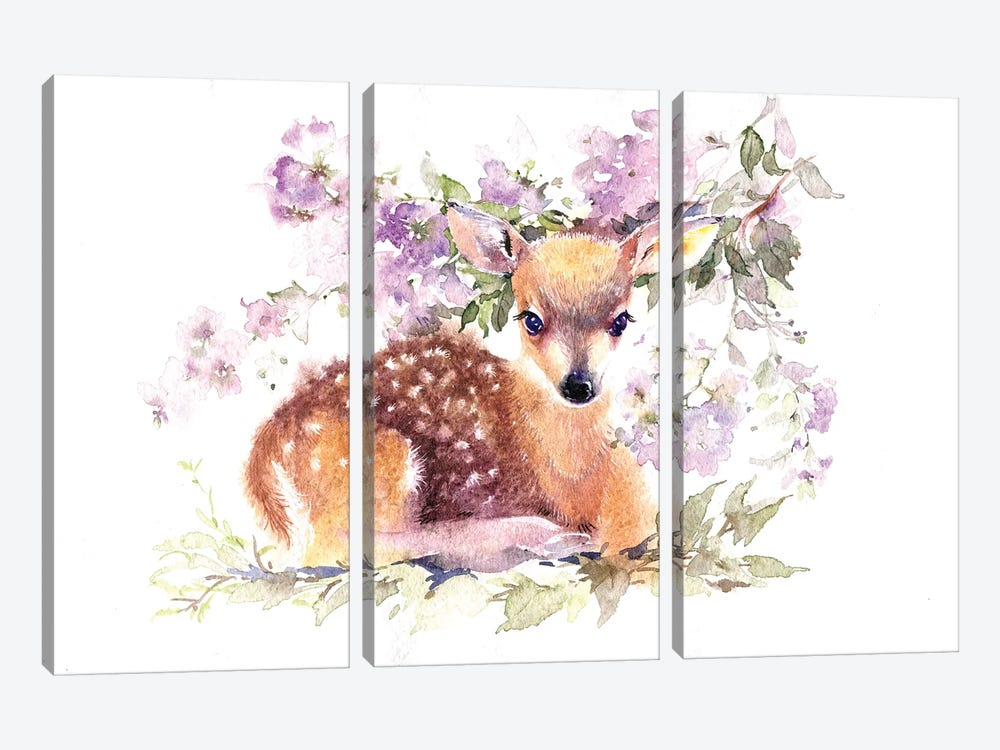 Fawn In Flowers by Marina Ignatova 3-piece Canvas Artwork