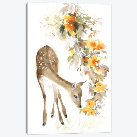 Fawn With A Branch Canvas Print #IGN16} by Marina Ignatova Canvas Print