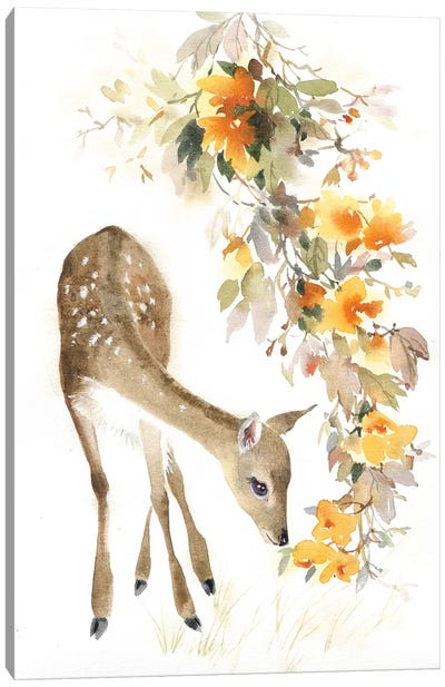 Fawn With A Branch Canvas Art Print