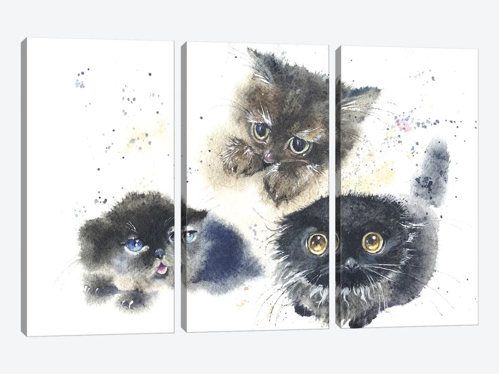 Kittens by Marina Ignatova 3-piece Canvas Art Print