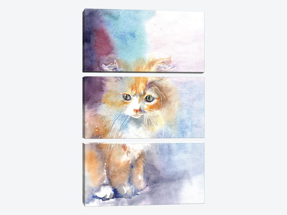 Kitty In The Light by Marina Ignatova 3-piece Art Print