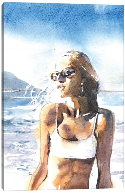 On A Beach Canvas Art Print