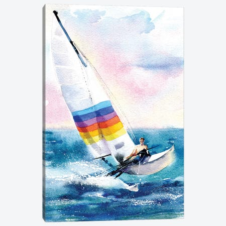 Alone With The Sea Canvas Print #IGN2} by Marina Ignatova Canvas Artwork
