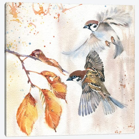 Sparrows III Canvas Print #IGN33} by Marina Ignatova Canvas Artwork