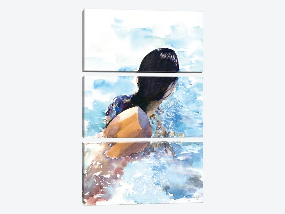 Swimmer by Marina Ignatova 3-piece Canvas Wall Art