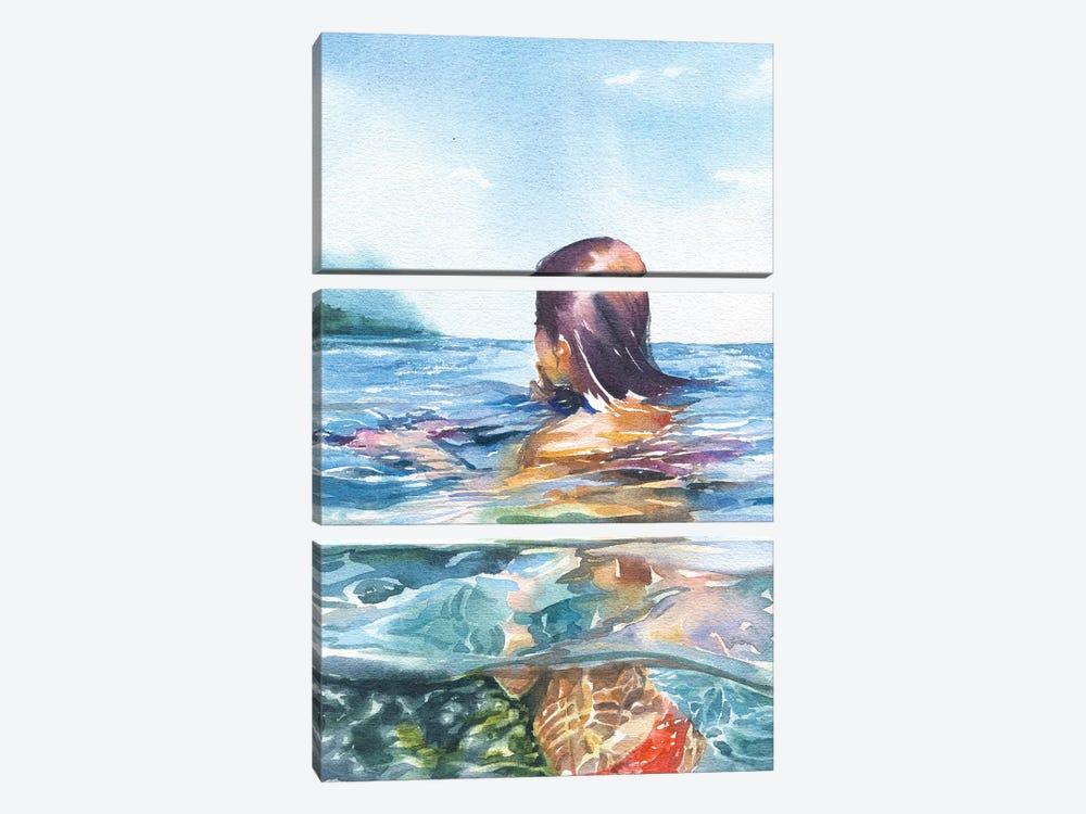 Swimming by Marina Ignatova 3-piece Canvas Art Print