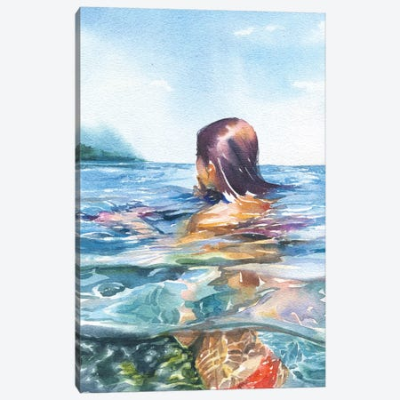 Swimming Canvas Print #IGN36} by Marina Ignatova Art Print