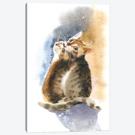 Two Kittens Canvas Print #IGN37} by Marina Ignatova Canvas Print