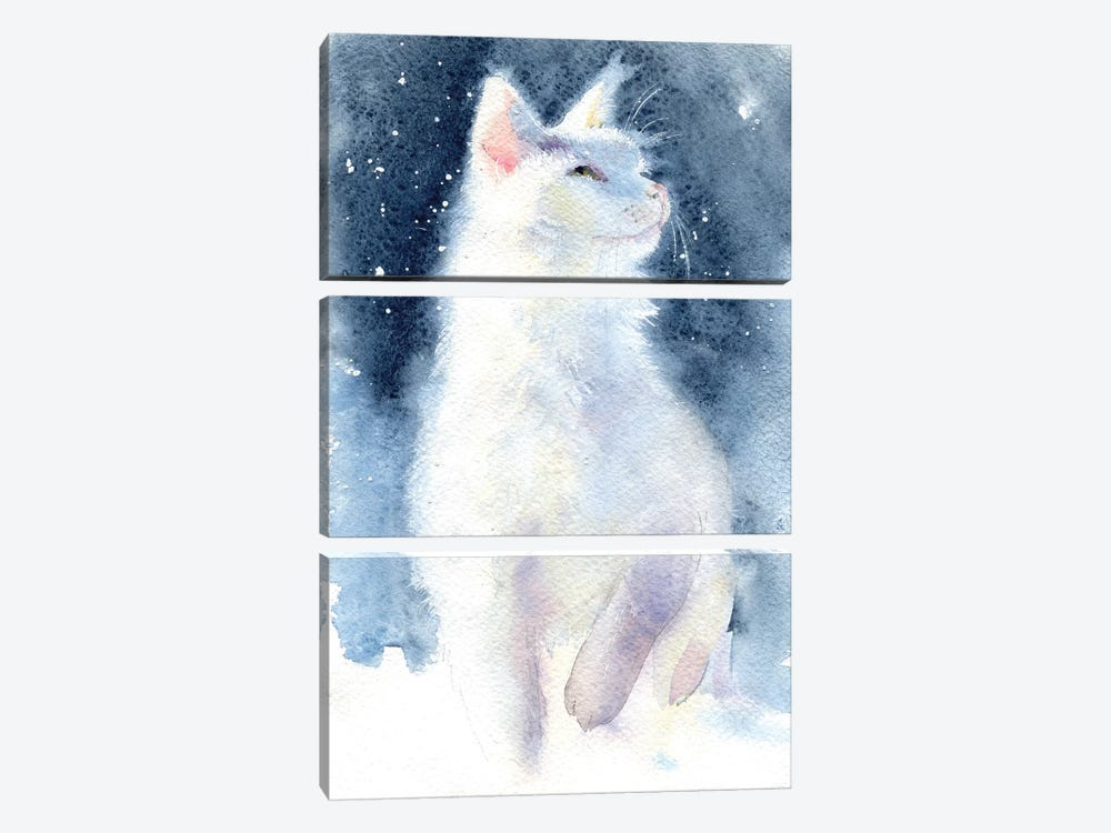White Kitten II by Marina Ignatova 3-piece Canvas Art