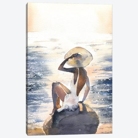 Woman On A Rock Canvas Print #IGN42} by Marina Ignatova Art Print