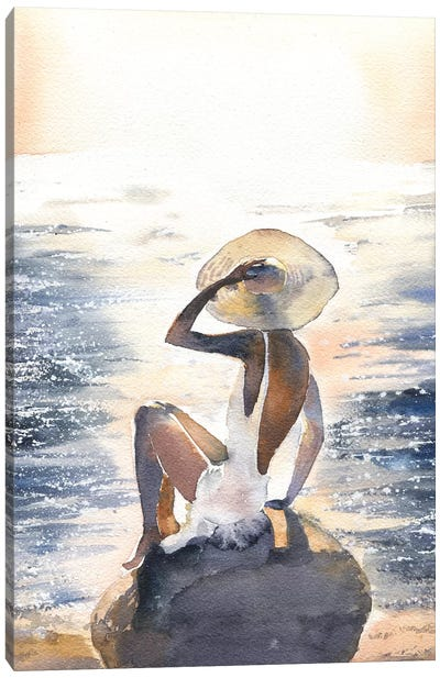 Woman On A Rock Canvas Art Print