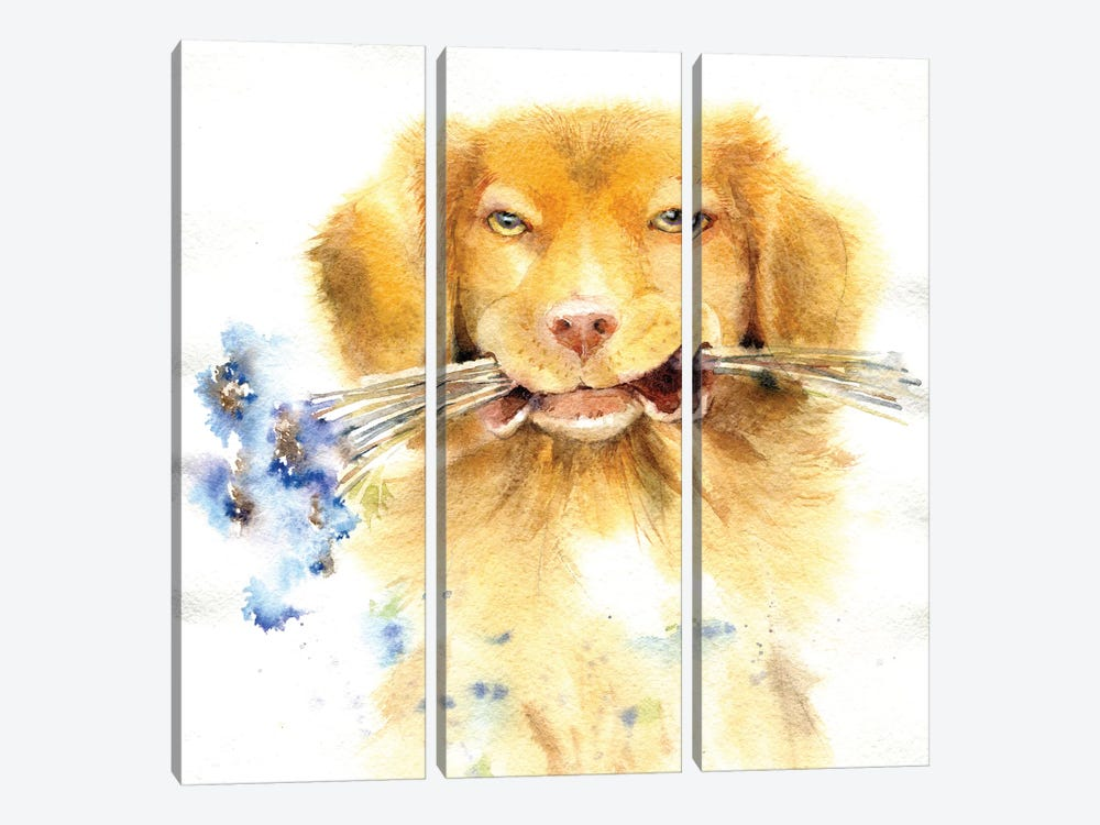 Retriever With Bouquet 3-piece Art Print