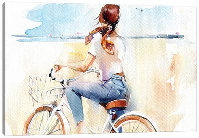 Summer, Girl, Bike Canvas Art Print