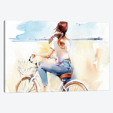 Summer, Girl, Bike Canvas Print #IGN45} by Marina Ignatova Canvas Art