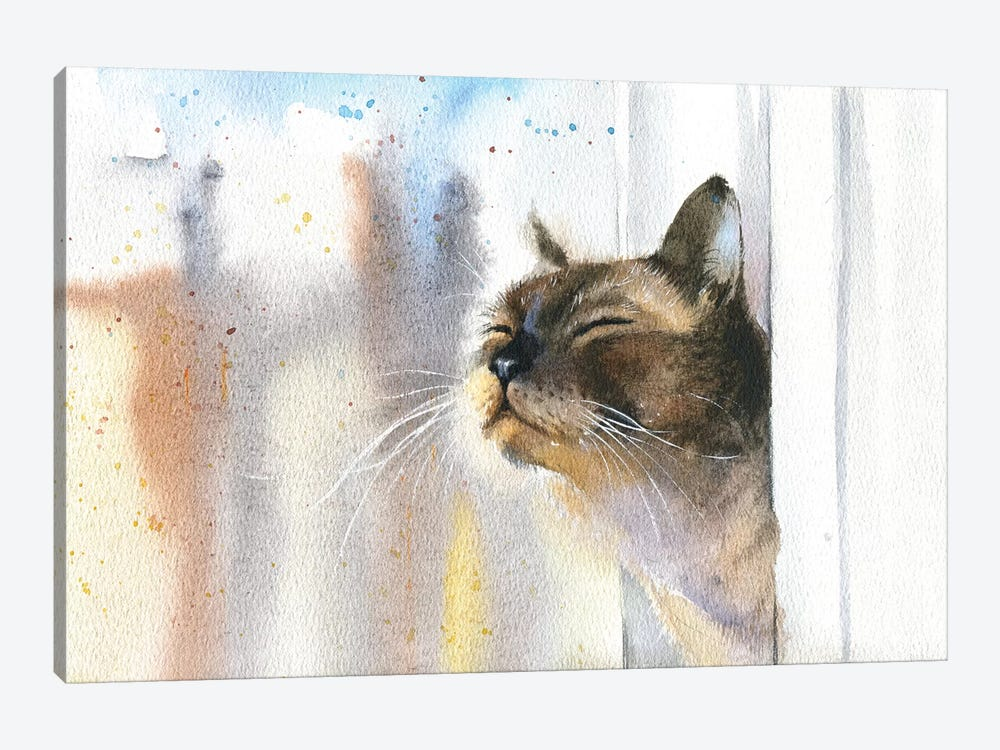 Cat Outside The Window 1-piece Canvas Art Print