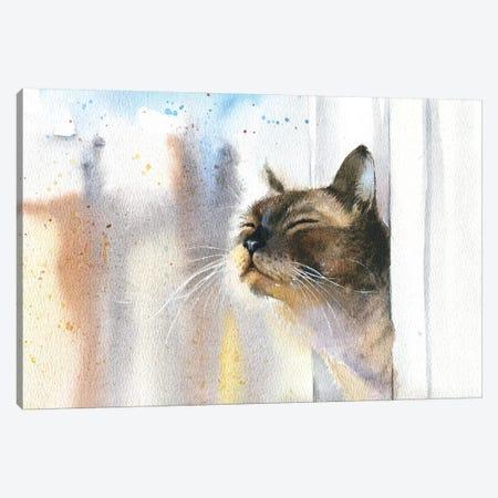 Cat Outside The Window Canvas Print #IGN50} by Marina Ignatova Canvas Art