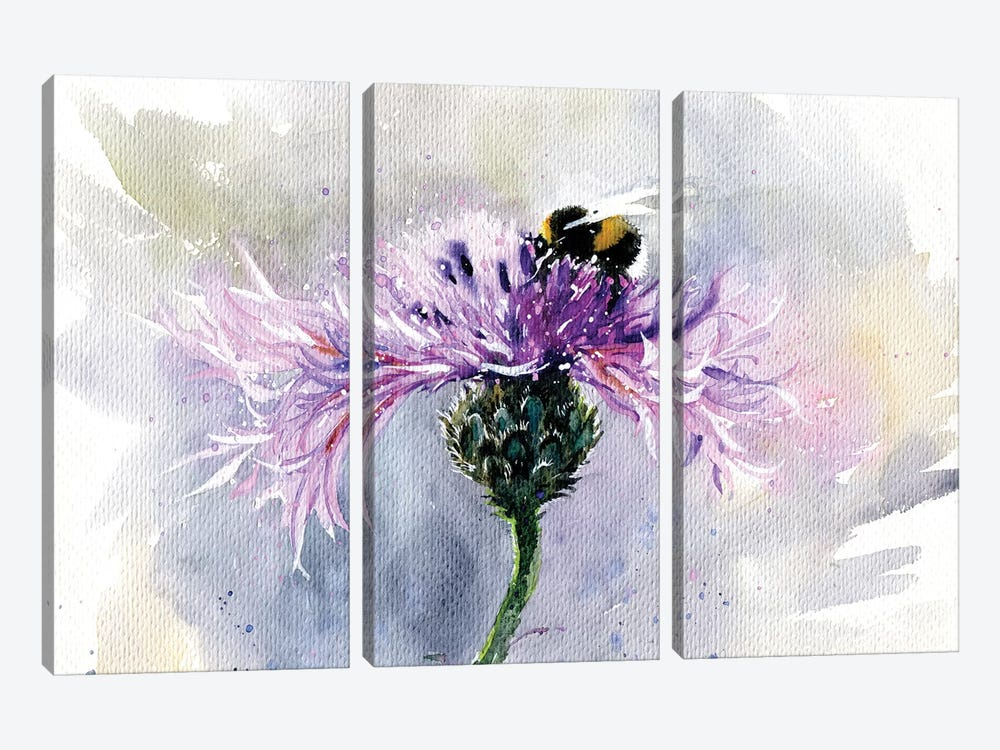 Bumblebee On A Flower by Marina Ignatova 3-piece Art Print