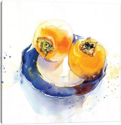 Orange On Blue Canvas Art Print