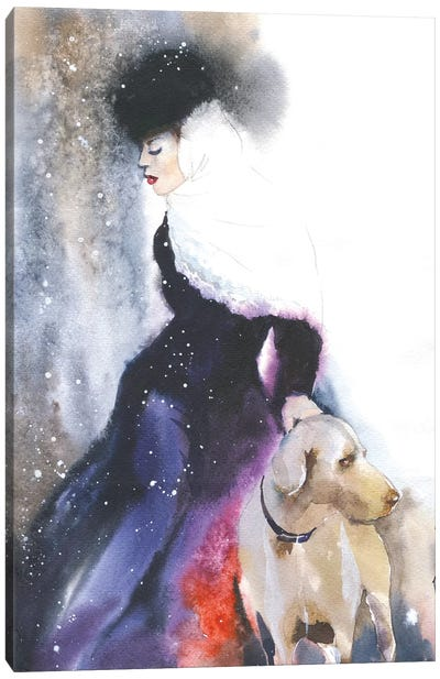 Lady With A Dog Canvas Art Print