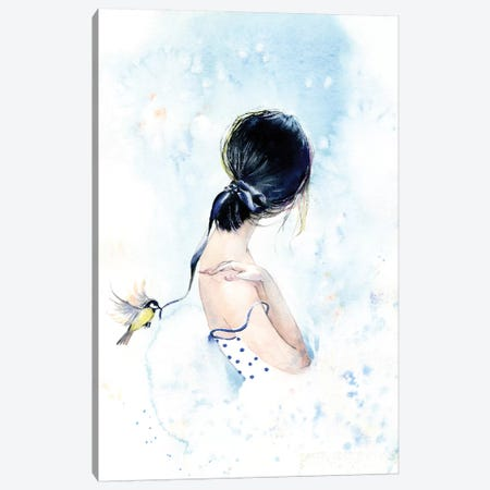 Birdy With A Ribbon Canvas Print #IGN7} by Marina Ignatova Art Print