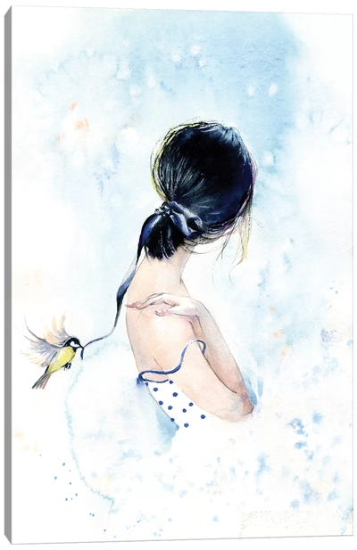 Birdy With A Ribbon Canvas Art Print