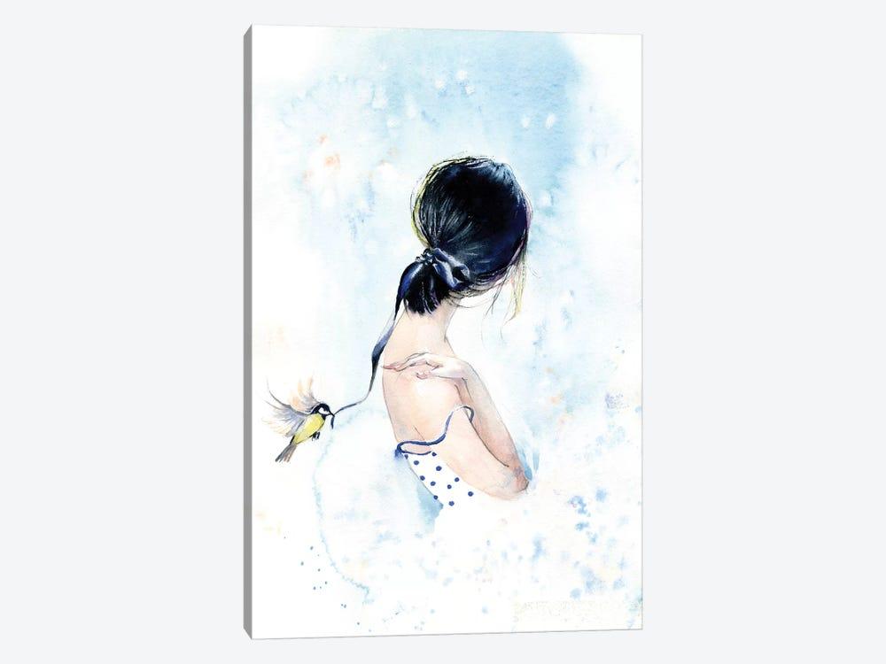 Birdy With A Ribbon by Marina Ignatova 1-piece Canvas Wall Art