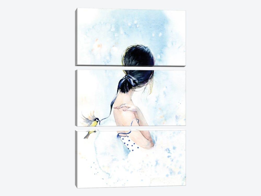 Birdy With A Ribbon by Marina Ignatova 3-piece Canvas Wall Art