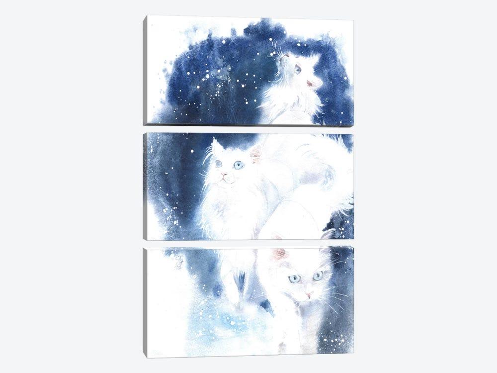White Cats by Marina Ignatova 3-piece Canvas Art