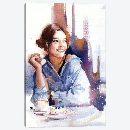 Girl In Blue Canvas Print #IGN81} by Marina Ignatova Canvas Art Print
