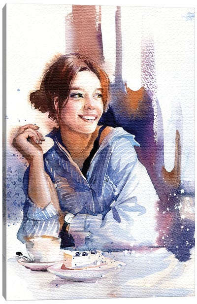 Girl In Blue Canvas Art Print