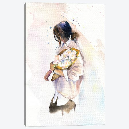 Girl With Flowers Canvas Print #IGN83} by Marina Ignatova Canvas Print