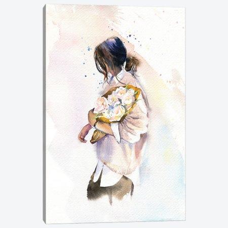 Girl With Flowers Canvas Print #IGN83} by Marina Ignatova Canvas Print