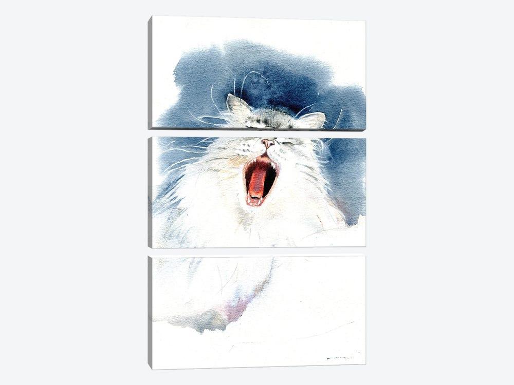 Yawning Cat by Marina Ignatova 3-piece Canvas Artwork