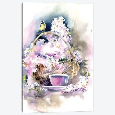 Basket With Lilacs Canvas Print #IGN89} by Marina Ignatova Art Print