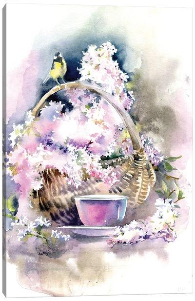 Basket With Lilacs Canvas Art Print