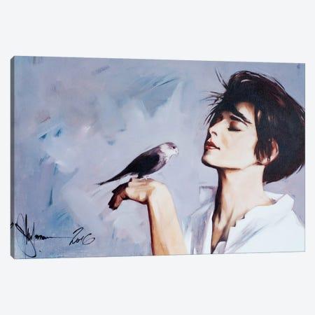 Girl With Bird. Canvas Print #IGS26} by Igor Shulman Art Print
