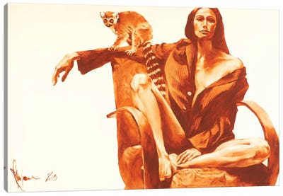 Night With Lemour Company Canvas Art Print