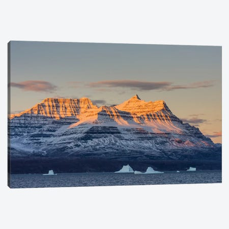 Greenland. Scoresby Sund. Gasefjord, Alpenglow on the mountain with iceberg. Canvas Print #IHO2} by Inger Hogstrom Canvas Artwork