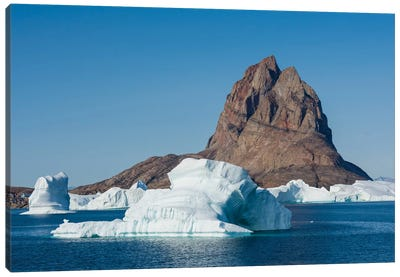 Greenland. Uummannaq. Uummannaq Mountain And Iceberg. Canvas Art Print